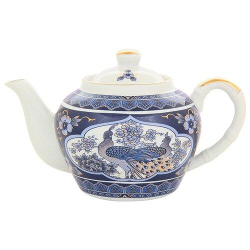 Elan gallery Заварочный чайник с металлическим ситом 700 мл Павлин синий