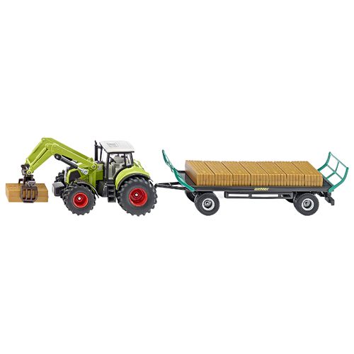 Купить Трактор Siku с захватом и прицепом (1946) 1:50 зеленый, Машинки и техника