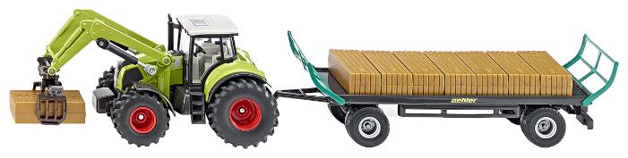 Трактор Siku с захватом и прицепом (1946) 1:50 зеленый