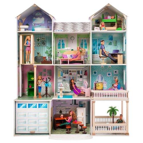 Купить PAREMO Интерактивное поместье Виттория (с мебелью, свет, звук) PD318-18, голубой/фиолетовый/серый, Кукольные домики