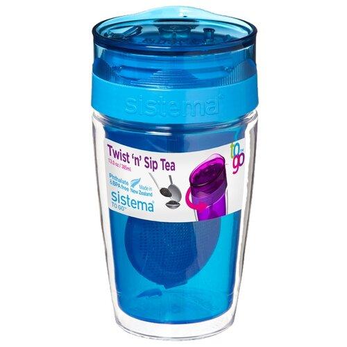 Термокружка Sistema Twist'n'Sip Tea To Go (0,37 л) blue контейнер для продуктов sistema to go triple split 2л blue 20920