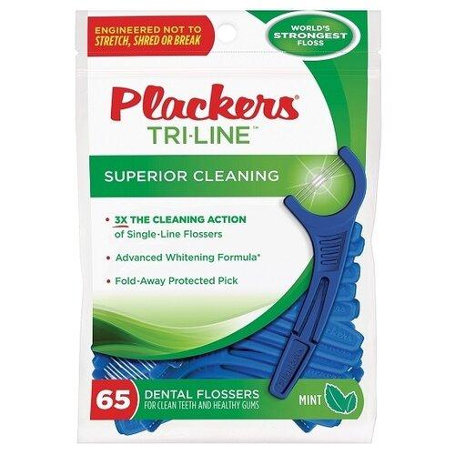 Plackers Tri-Line флоссер для ухода за полостью рта, 65 шт.