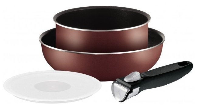 Набор посуды Tefal Ingenio PTFE Red 3, ковш 20 см, вок 26 см, пластиковая крышка 20 см, съемная ручка 04162830