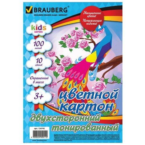 Купить Цветной картон тонированный в массе BRAUBERG, A4, 100 л., 10 цв., Цветная бумага и картон