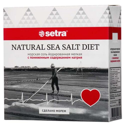 Setra Соль морская йодированная мелкая с пониженным содержанием натрия, 500 гСоль<br>