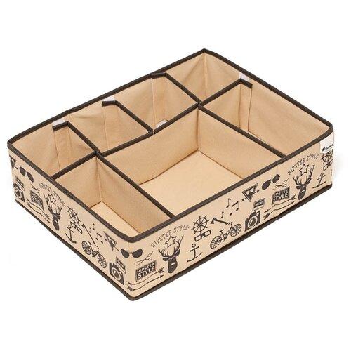 HOMSU Органайзер для вещей Hipster Style бежевый/коричневый органайзер для хранения обуви hipster style 6 секций 66 х 63 х 11 см
