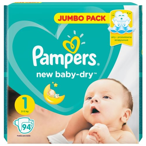 Pampers подгузники New Baby Dry 1 (2-5 кг) 94 шт. pampers подгузники pampers new baby dry 4–8 кг размер 2 94 шт