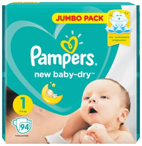 4f20e2fa6298 Купить Pampers подгузники New Baby Dry 1 (2-5 кг) 94 шт. по выгодной ...