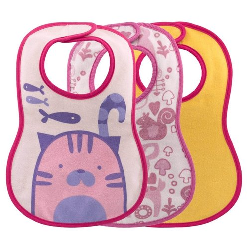 Купить Chicco Комплект нагрудников Easy Meal 6м+ (3 шт), 3 шт., расцветка: кот/розовый/желтый, Нагрудники и слюнявчики