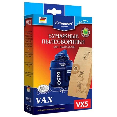 Фото - Topperr Бумажные пылесборники VX5 4 шт. topperr бумажные пылесборники sm5 5 шт