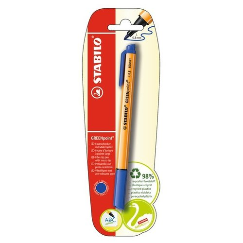 STABILO Ручка капиллярная GREENpoint 0.8 мм в блистере, синий цвет чернил