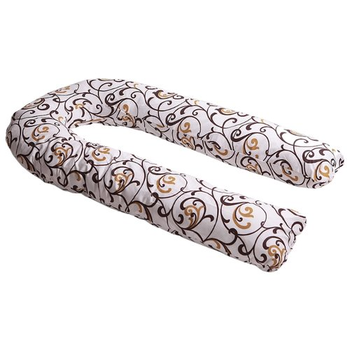 Подушка Body Pillow для беременных U холлофайбер, с наволочкой из хлопка бежевый в коричневыми вензелямиПодушки и кресла для мам<br>