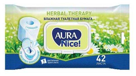 Влажная туалетная бумага Aura Nice с ромашкой Herbal therapy 42 шт.