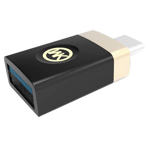 Переходник WK USB Type-C - USB (WT-OTG Type-C) черныйКомпьютерные кабели, разъемы, переходники<br>