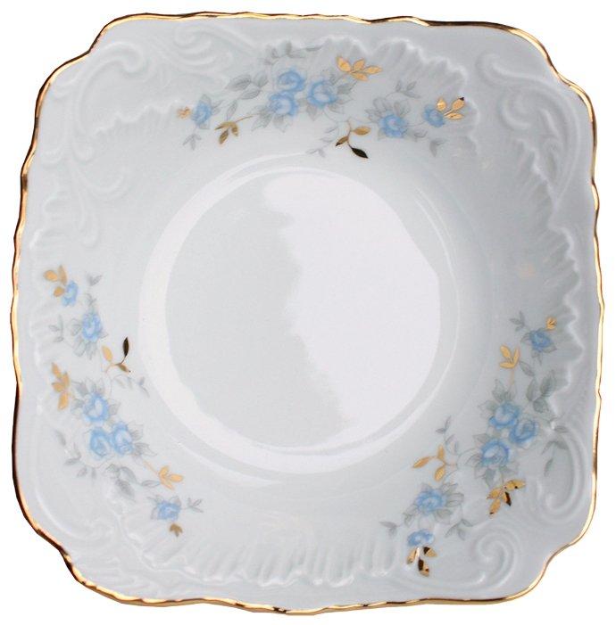 Cmielow Салатник квадратный Rococo Голубой цветок 14 см