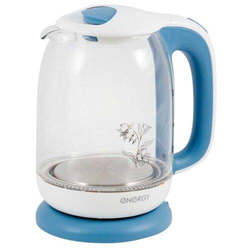 Чайник Energy E-281, белый/голубой energy чайник energy e 226 1 7л диск белый