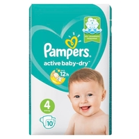 Pampers подгузники Active Baby-Dry 4 (9-14 кг) 10 шт.