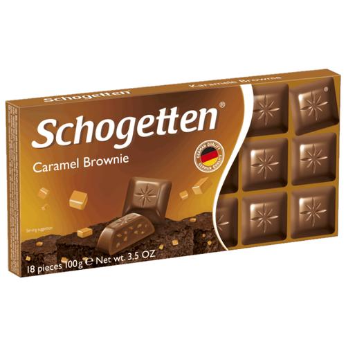 Шоколад Schogetten Caramel Brownie молочный с начинкой из крема брауни, печенья с какао и карамелью порционный, 30% какао, 100 г