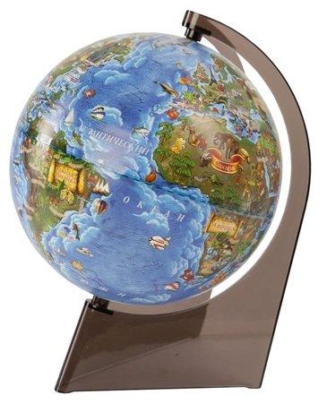 Глобус Земли Детский, диаметр 21 см, с подсветкой, подставка пластик, треугольная
