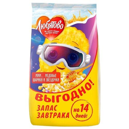Готовый завтрак Любятово Медовые шарики и звёздочки, пакет, 420 г