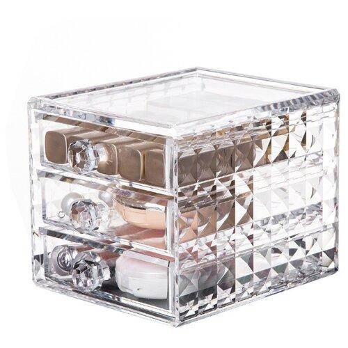 HOMSU Органайзер акриловый для косметики на 3 секции Diamond прозрачный