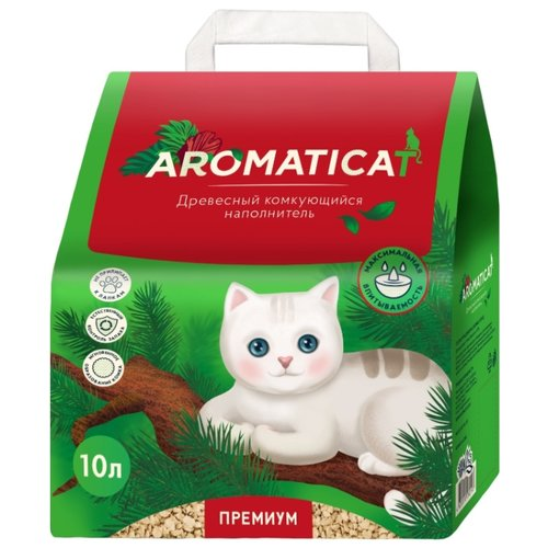 Комкующийся наполнитель AromatiCat древесный Premium, 10 л