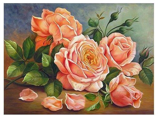 Алмазная живопись Набор алмазной вышивки Ароматные розы (АЖ-1514) 40x30 см