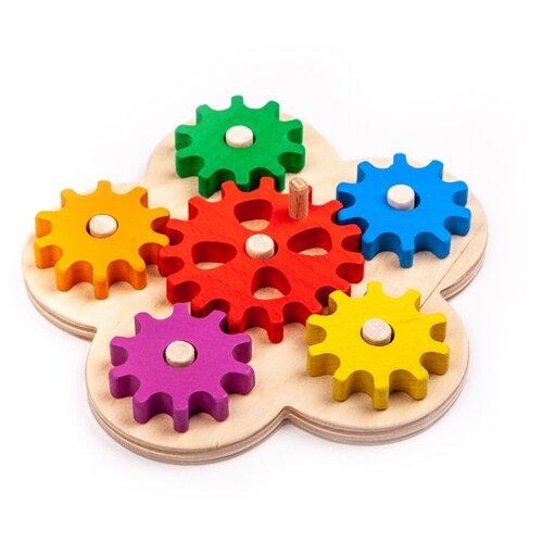 Купить Развивающая игрушка Волшебное дерево Шестерёнки цветные бежевый, Развитие мелкой моторики