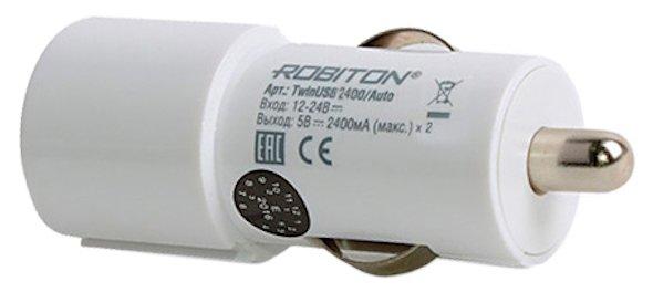 Автомобильная зарядка ROBITON TwinUSB2400/AUTO