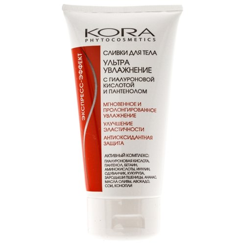 Сливки для тела Kora Ультраувлажнение с гиалуроновой кислотой и пантенолом, 150 млКремы и лосьоны<br>