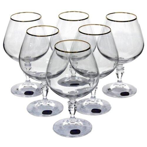 Bohemia Crystal Набор бокалов для бренди Виктория золото 380 мл 6 штБокалы и стаканы<br>