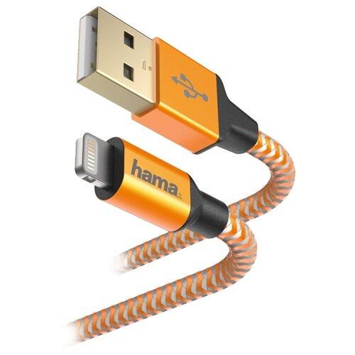 Купить Кабель HAMA USB - Apple Lightning Reflective 1.5 м оранжевый
