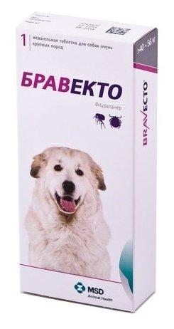 Жевательная таблетка Intervet MSD Intervet Бравекто жевательная таблетка для щенков и взрослых собак крупных пород (массой 40-56 кг) (1.)