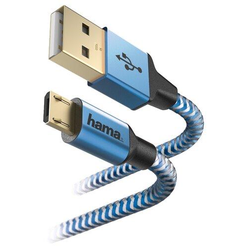 Купить Кабель HAMA USB - microUSB (00178287) 1.5 м синий