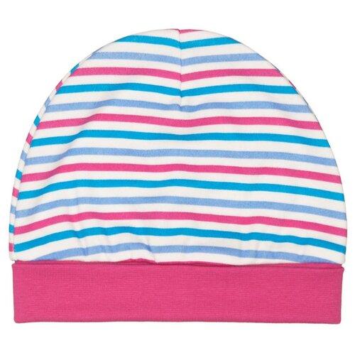 Шапка lucky child размер 40, молочный/розовый/бирюзовый в полоску