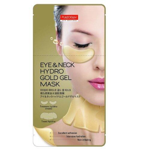 Purederm Гидрогелевая маска 2 в 1 для области глаз и шеи, 11 гМаски<br>