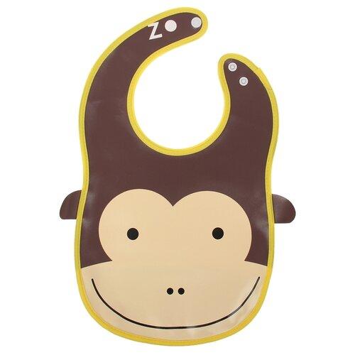 Фото - Крошка Я Нагрудник с карманом «Лягушка / Слон/ Лиса / Зайка / Зебра / Обезьянка / Пингвин / Пчелка / Сова / Уточка из клеёнки, на кнопках, обезьяна/коричневый/бежевый/желтый комплект посуды крошка я зайка 3275231 зеленый