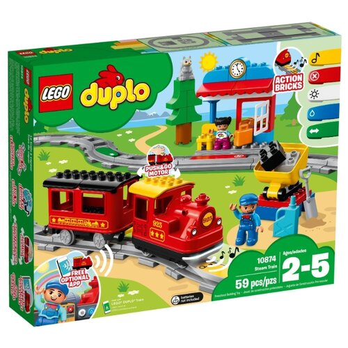 Купить Электромеханический конструктор LEGO Duplo 10874 Поезд на паровой тяге, Конструкторы
