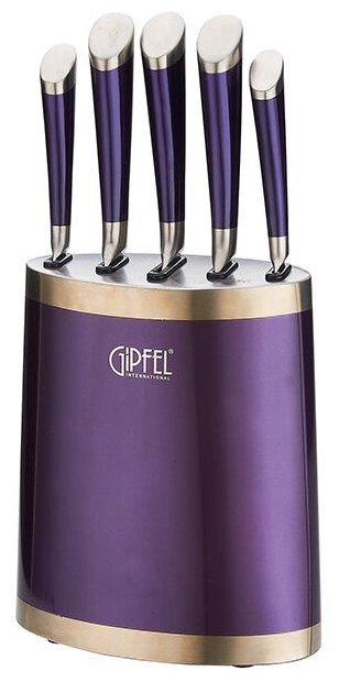 Набор ножей GIPFEL, BARON, 6 предметов, фиолетовая подставка 6666