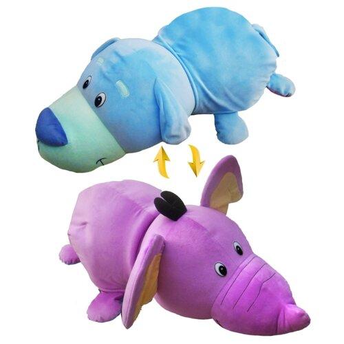 Купить Мягкая игрушка 1 TOY Вывернушка Голубой щенок-Фиолетовый слон 76 см, Мягкие игрушки