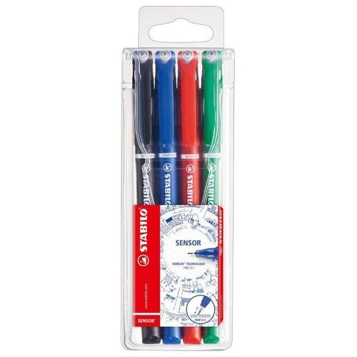 Купить STABILO Набор капиллярных ручек SENSOR 4 цвета, 0.3 мм (189/4), Ручки