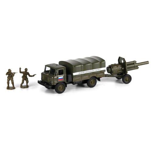 Купить Набор техники ТЕХНОПАРК ГАЗ 66 Вооруженные силы с пушкой и фигурками (CT-1299-CT1112) 1:43 болотный, Машинки и техника