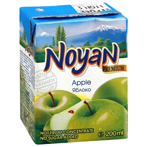 Сок Noyan Яблоко с мякотью, без сахара, 0.2 л noyan яблочный сок premium 200 мл