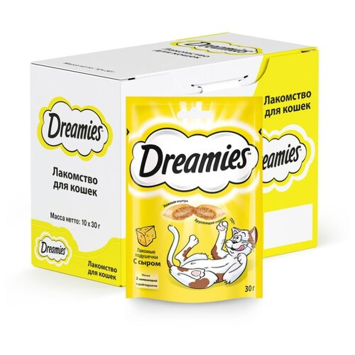 Лакомство для кошек Dreamies Подушечки с сыром, 30 г х 10 уп. (шоу бокс)