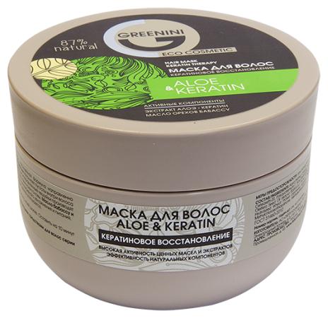 Greenini Маска для волос ALOE&KERATIN Кератиновое восстановление