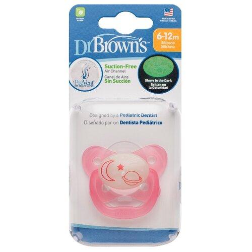 Пустышка силиконовая ортодонтическая Dr. Brown's Prevent Contoured Glow-in-the-Dark 6-12 м (1 шт.) розовый пустышка силиконовая классическая dr brown s happypaci 0 6 м 1 шт розовый