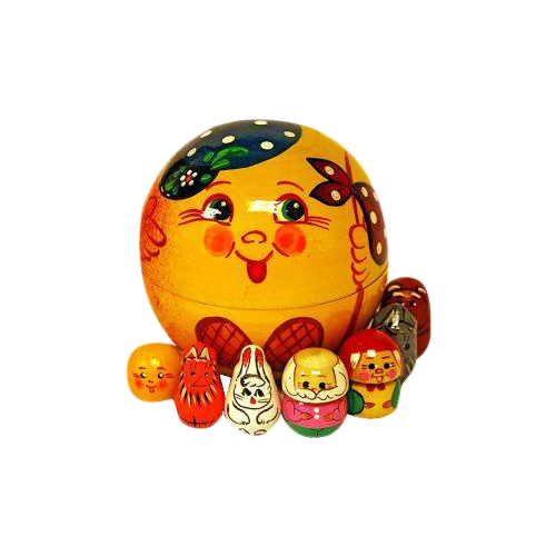 Русская народная игрушка Пальчиковый театр в колобке Колобок (Р-45/780)