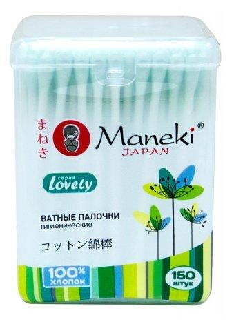 Maneki Палочки ватные гигиенические Lovely с зеленым бумажным стиком в пластиковой коробке 150 шт