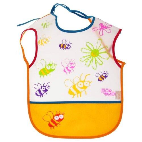 Купить Пома Слюнявчик клеенчатый на завязках и с карманом, 1 шт, расцветка: желтый пчелы, Нагрудники и слюнявчики