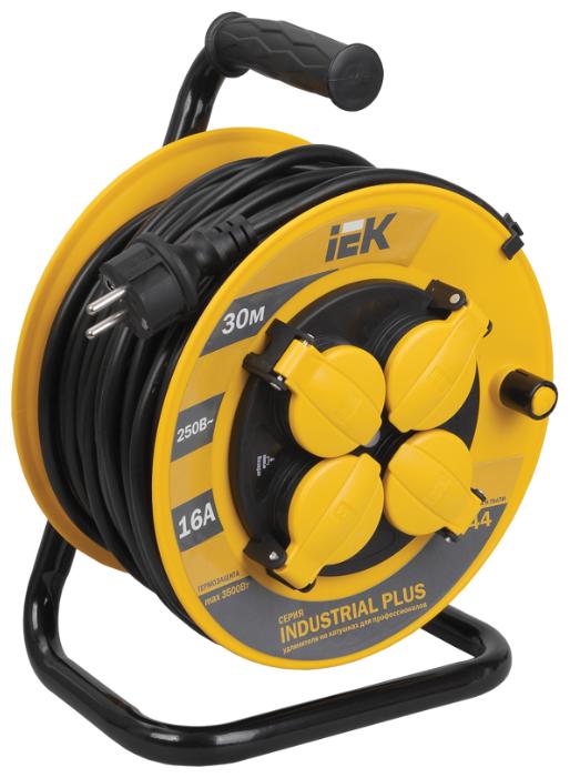IEK Удлинитель на катушке 4х30м с заземл. 16А IP44 УК30 Industrial plus с термозащ. 3х1.5